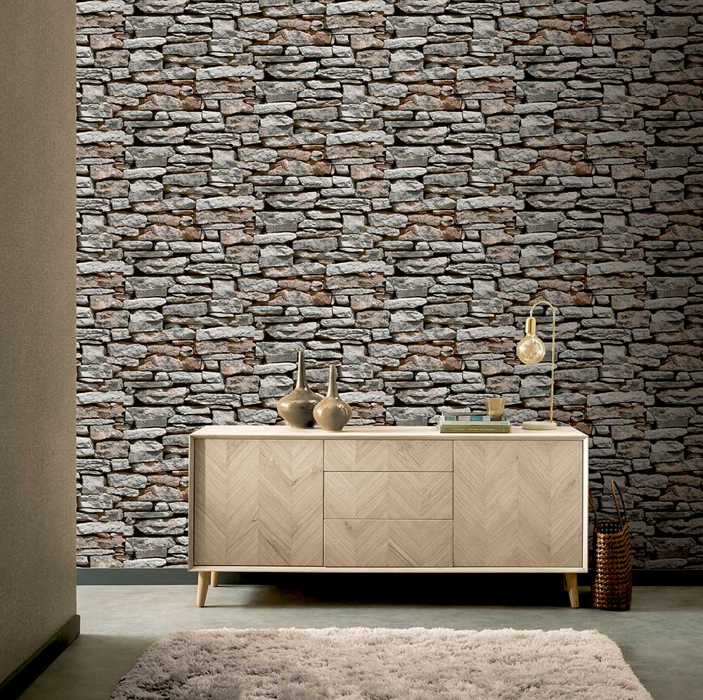 Arthouse Moroccan Wall Grey / Red Wallpaper - Product code: 623000