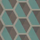 Eijffinger Charm Hexagon Taupe / Dark Brown / Deep Jade Wallpaper - Product code: 331216