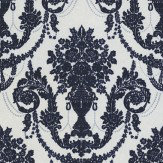 Albany Palace Flock Navy / Cream Wallpaper