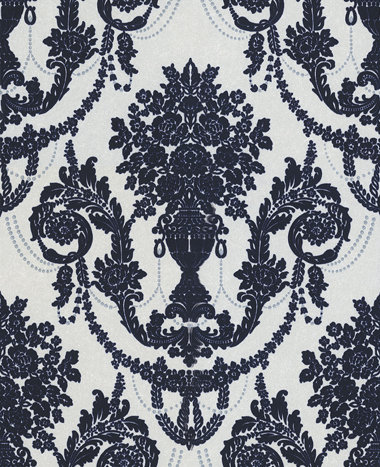 Palace flock by albany navy cream wallpaper wallpaper direct - Cream flock wallpaper ...
