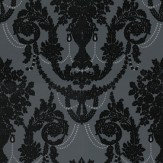 Albany Palace Flock Black / Charcoal Grey Wallpaper