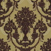 Albany Palace Flock Burgundy / Gold Wallpaper
