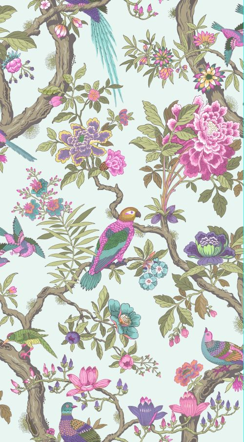 Cole & Son Fontainebleau Rose Pink & Duck Egg Wallpaper - Product code: 99/12051