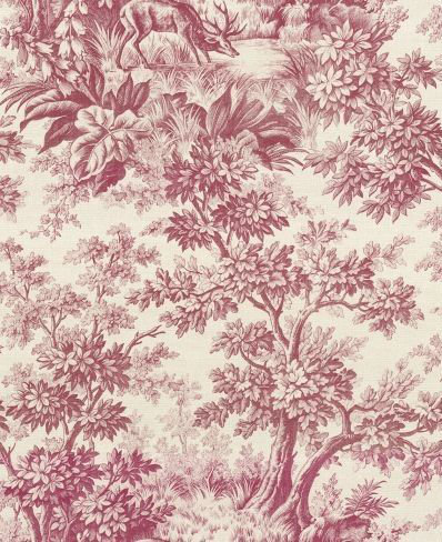 Little Greene Stag Toile  Burgundy Wallpaper main image