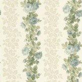 Albany Rose Stripe Blue / Green / Cream Wallpaper