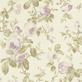 Albany Roselle Feature Lilac / Green Wallpaper