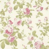 Albany Roselle Feature Pink / Green Wallpaper