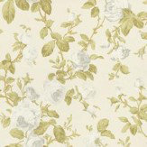 Albany Roselle Feature Cream / Green Wallpaper