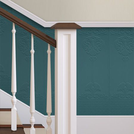 Baroque Dado Panel Wallpaper - Paintable White - by Anaglypta