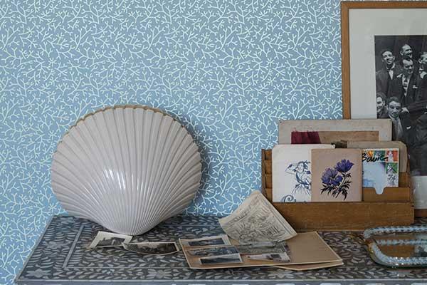 Farrow & Ball Samphire Powder Blue/ White Wallpaper - Product code: BP 4003