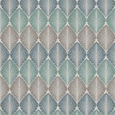 Osborne & Little Leaf Fall Metallic Peacock / Gilver / Turquoise Wallpaper - Product code: W6591-02