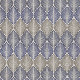 Osborne & Little Leaf Fall Metallic Navy / Blue / Pewter Wallpaper - Product code: W6591-03