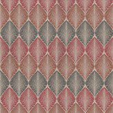 Osborne & Little Leaf Fall Metallic Cranberry Cacoa / Mandarin Wallpaper - Product code: W6591-07
