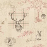 Albany Richmond Cranberry / Linen Wallpaper
