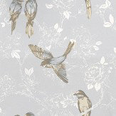Prestigious Songbird Porcelain Blue / White Wallpaper