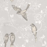 Prestigious Songbird Mist Grey / White Wallpaper - Product code: 1616/655