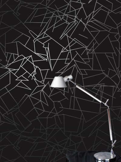 Image of Erica Wakerly Wallpapers Angles Black Silver , ANG B/W