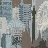 Linwood London Skyline Teal / Chocolate Wallpaper