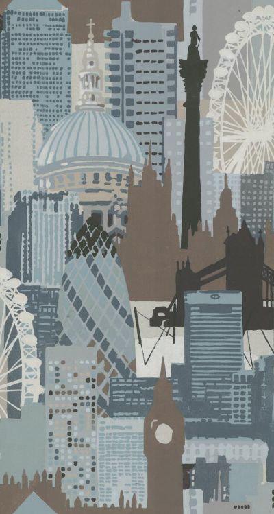 Linwood London Skyline Teal / Chocolate Wallpaper - Product code: LW1454/1