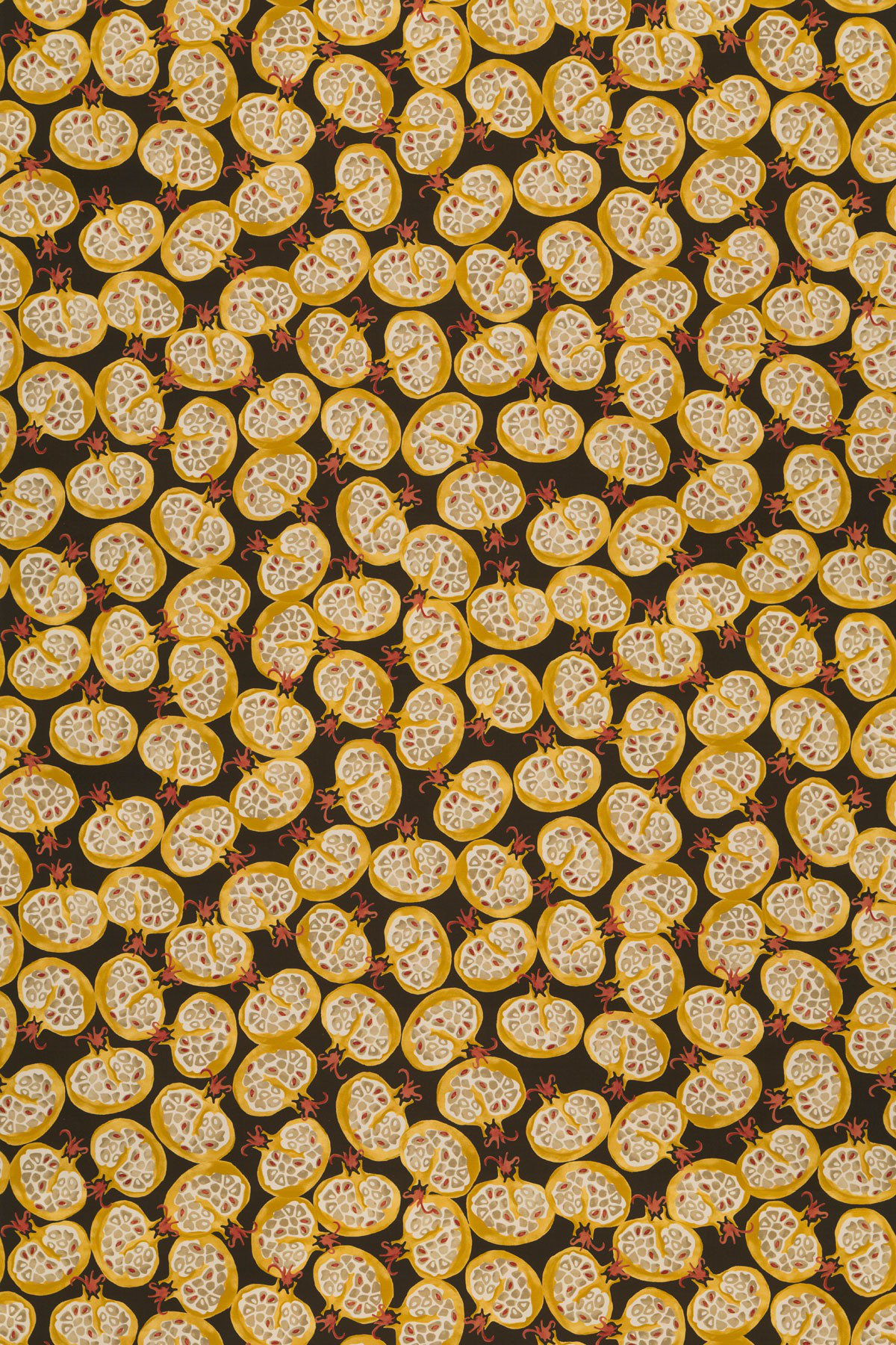 Image of Emma Bridgewater Fabric Pomegranate Black/Ochre, 223429