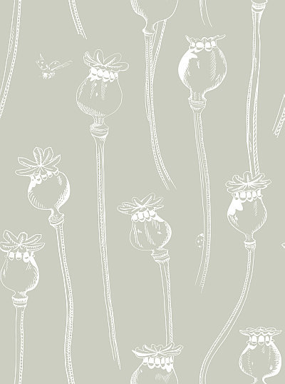 Hubbard and Reenie Poppy Pepper Pots Castle Stone Soft Grey Wallpaper - Product code: PPPCS