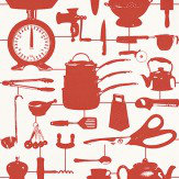 Graduate Collection Airfix Kitchen Red Wallpaper
