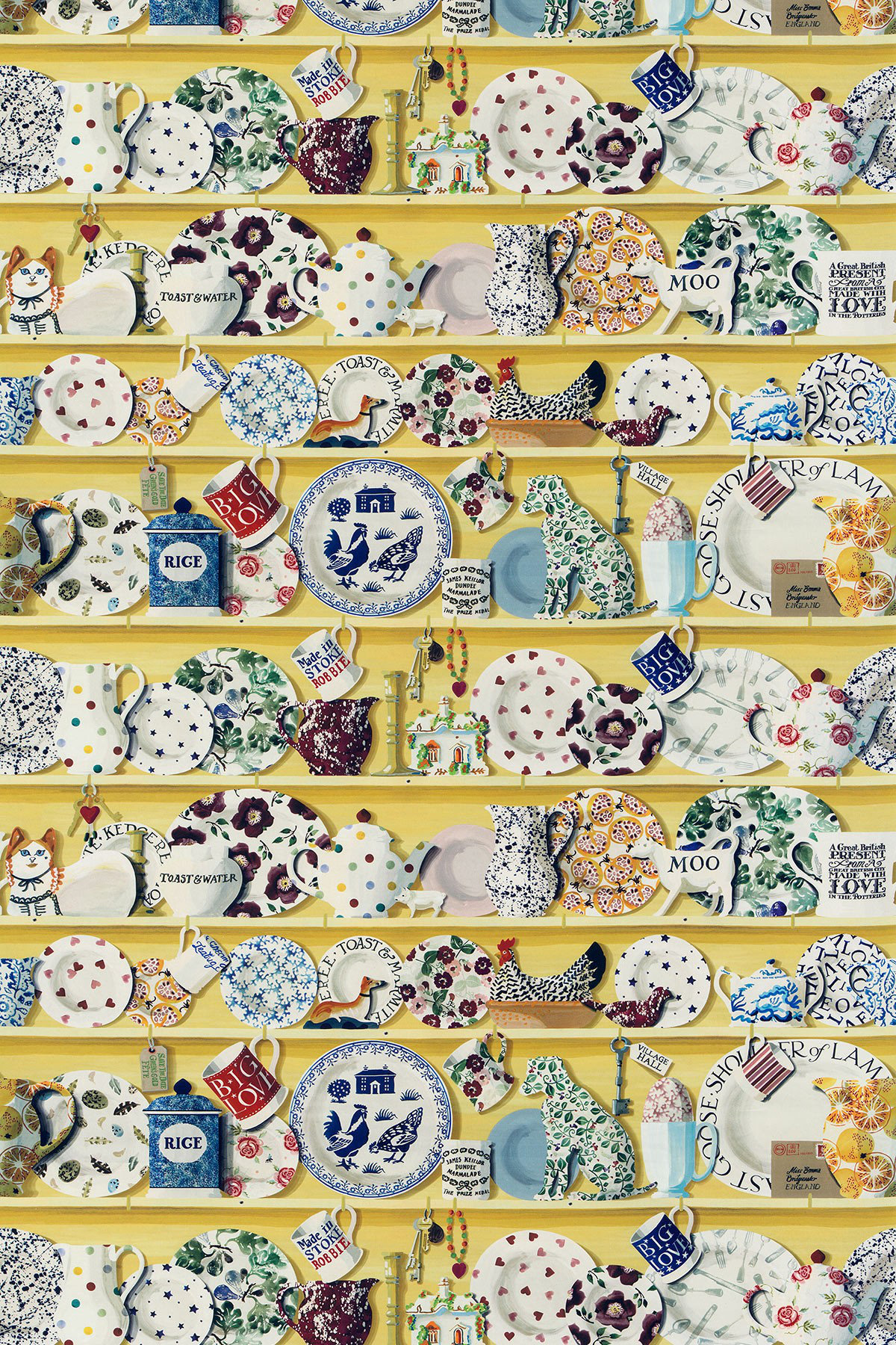 Image of Emma Bridgewater Fabric The Dresser Lion Yellow/Multi, 223456