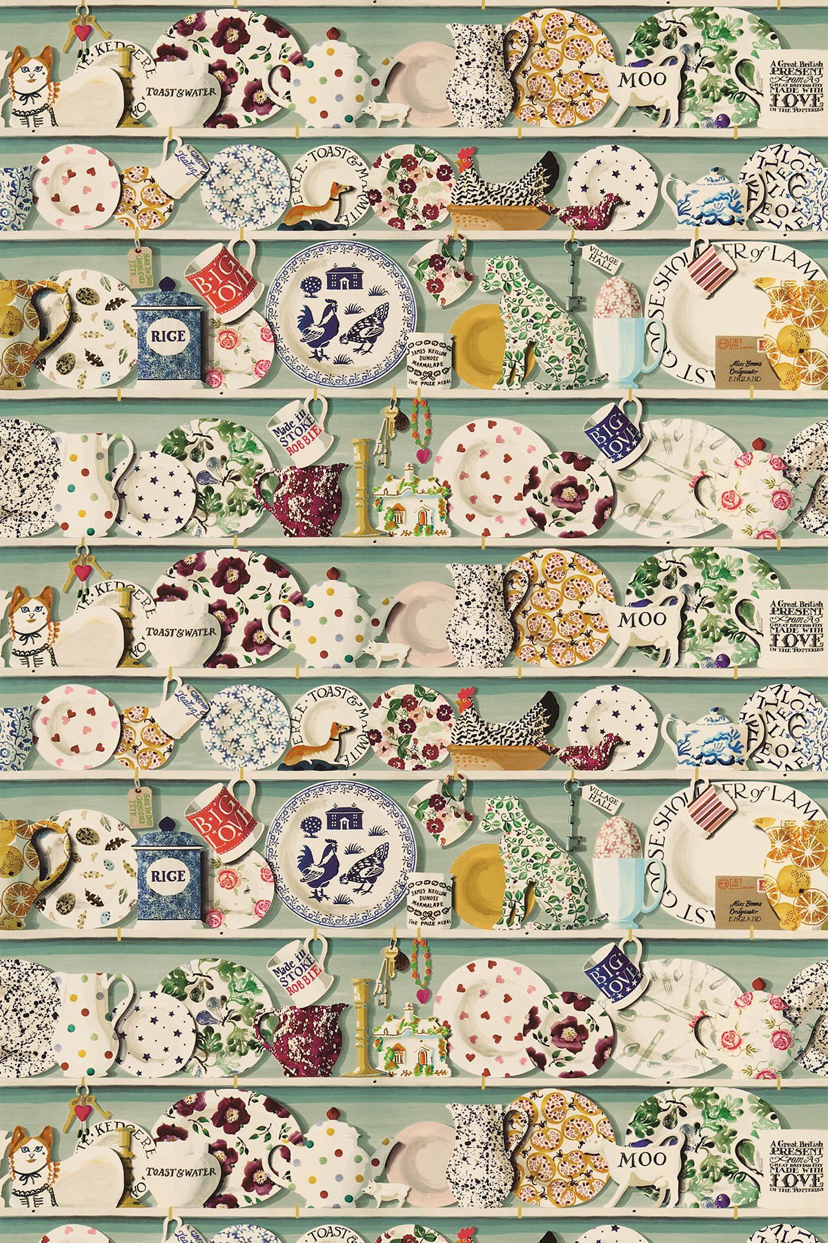 Image of Emma Bridgewater Fabric The Dresser Duck Egg/Multi, 223457