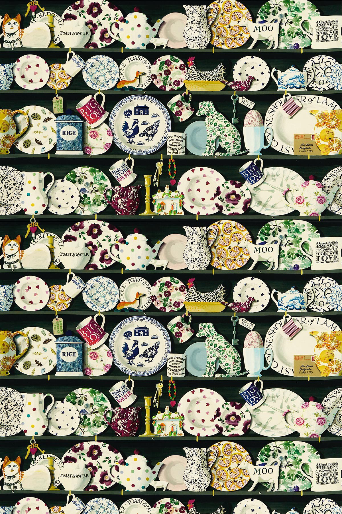 Image of Emma Bridgewater Fabric The Dresser Black/Multi, 223458