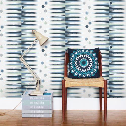 Backgammon  Wallpaper - Chalkhill Blue - by Mini Moderns