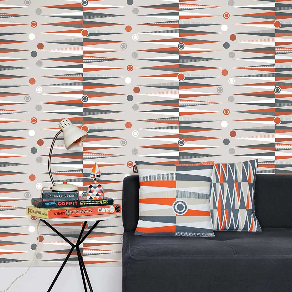 Mini Moderns Backgammon  Harvest Orange Wallpaper - Product code: AZDPT020 Orange