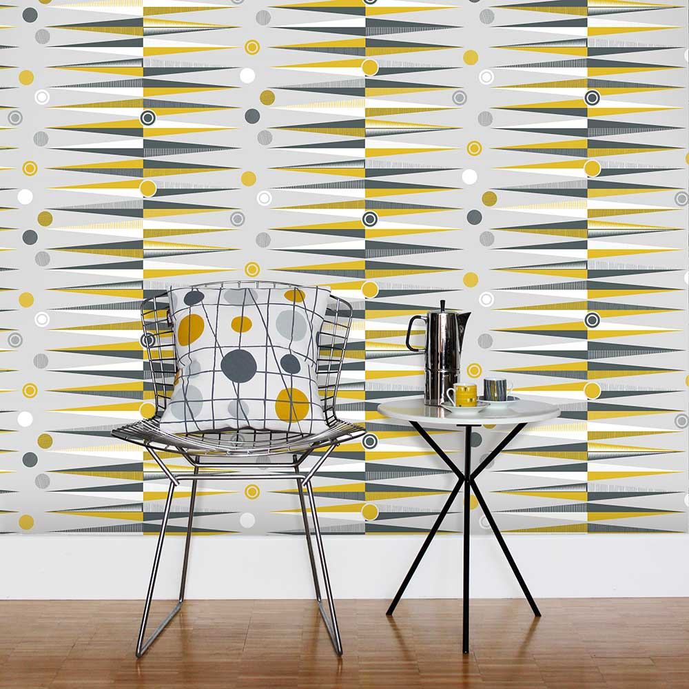 Mini Moderns Backgammon  Mustard Wallpaper - Product code: AZDPT020 Mustard