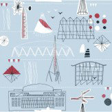 Mini Moderns Festival Bunting  Blue/Red Wallpaper