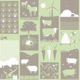 Mini Moderns Moo!  Pear Green Wallpaper