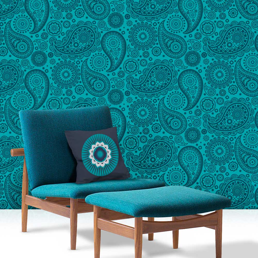 Mini Moderns Paisley Crescent  Lido Wallpaper - Product code: AZDPT019 Lido