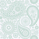 Mini Moderns Paisley Crescent  Pale Verdigris Wallpaper
