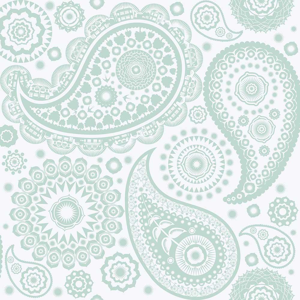 Mini Moderns Paisley Crescent  Pale Verdigris Wallpaper - Product code: AZDPT019 Verdi