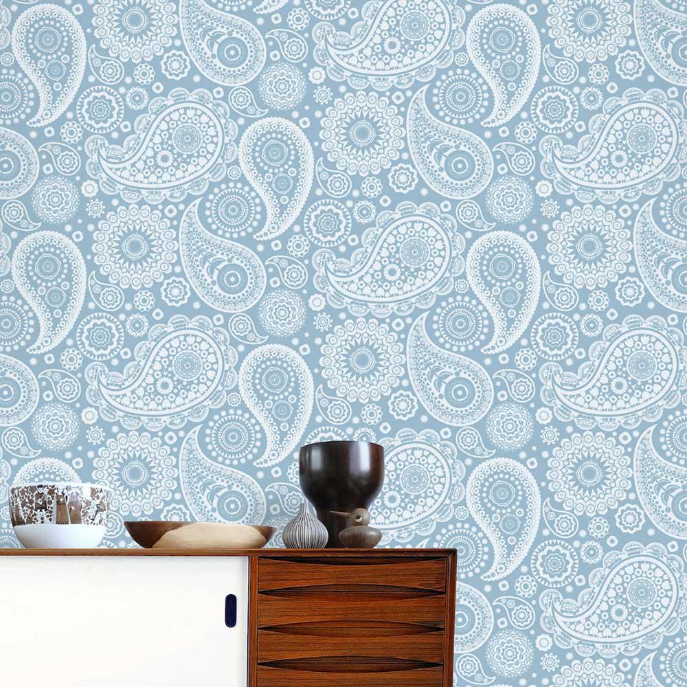 Mini Moderns Paisley Crescent  Chalkhill Blue Wallpaper - Product code: AZDPT019 Chalkhill