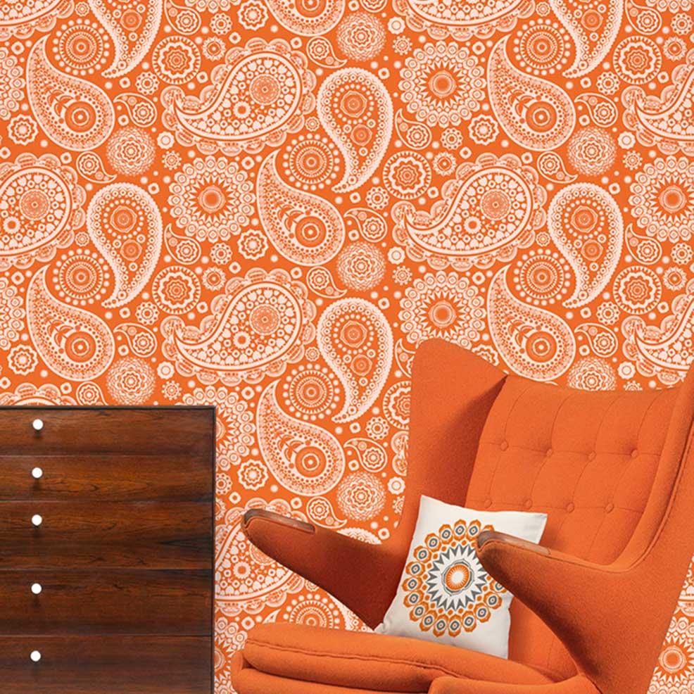 Mini Moderns Paisley Crescent  Tangerine Dream Wallpaper - Product code: AZDPT019 Tang