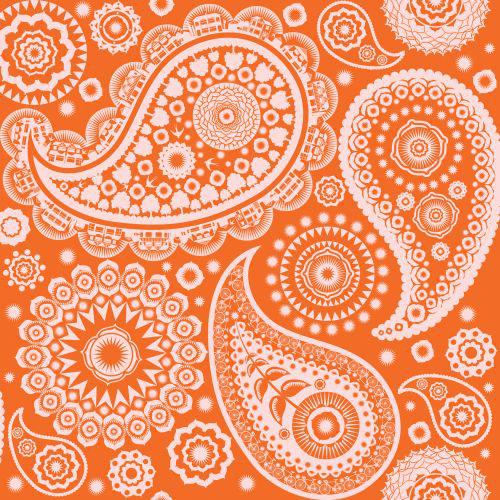 Mini Moderns Paisley Crescent  Tangerine Dream Wallpaper main image