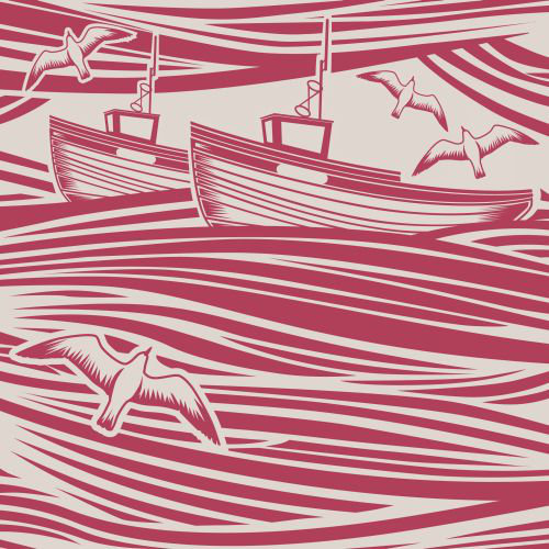 Mini Moderns Whitby  Awning Red Wallpaper main image