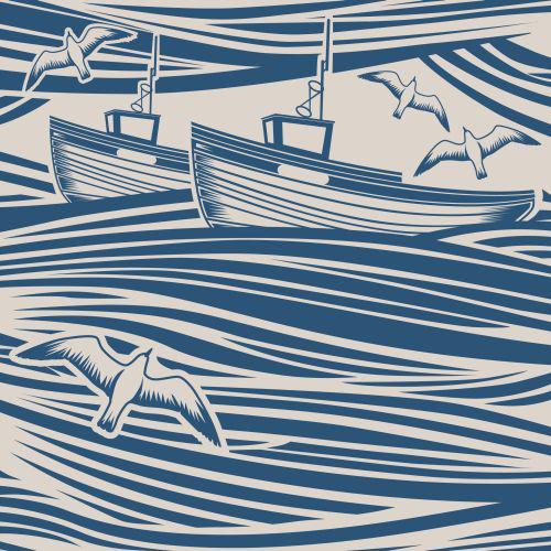 Mini Moderns Whitby  Washed Denim Wallpaper main image