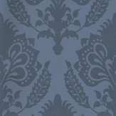 G P & J Baker Malatesta Damask Indigo Metallic Indigo Wallpaper