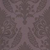 G P & J Baker Malatesta Damask Aubergine Metallic Aubergine Wallpaper