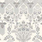 G P & J Baker Drummond Damask Silver White / Silver Wallpaper