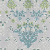 G P & J Baker Drummond Damask Sea Glass Sea Glass / Metallic Silver Wallpaper