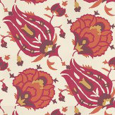 G P & J Baker Turkish Flower Ruby Red / Orange / Cream Wallpaper