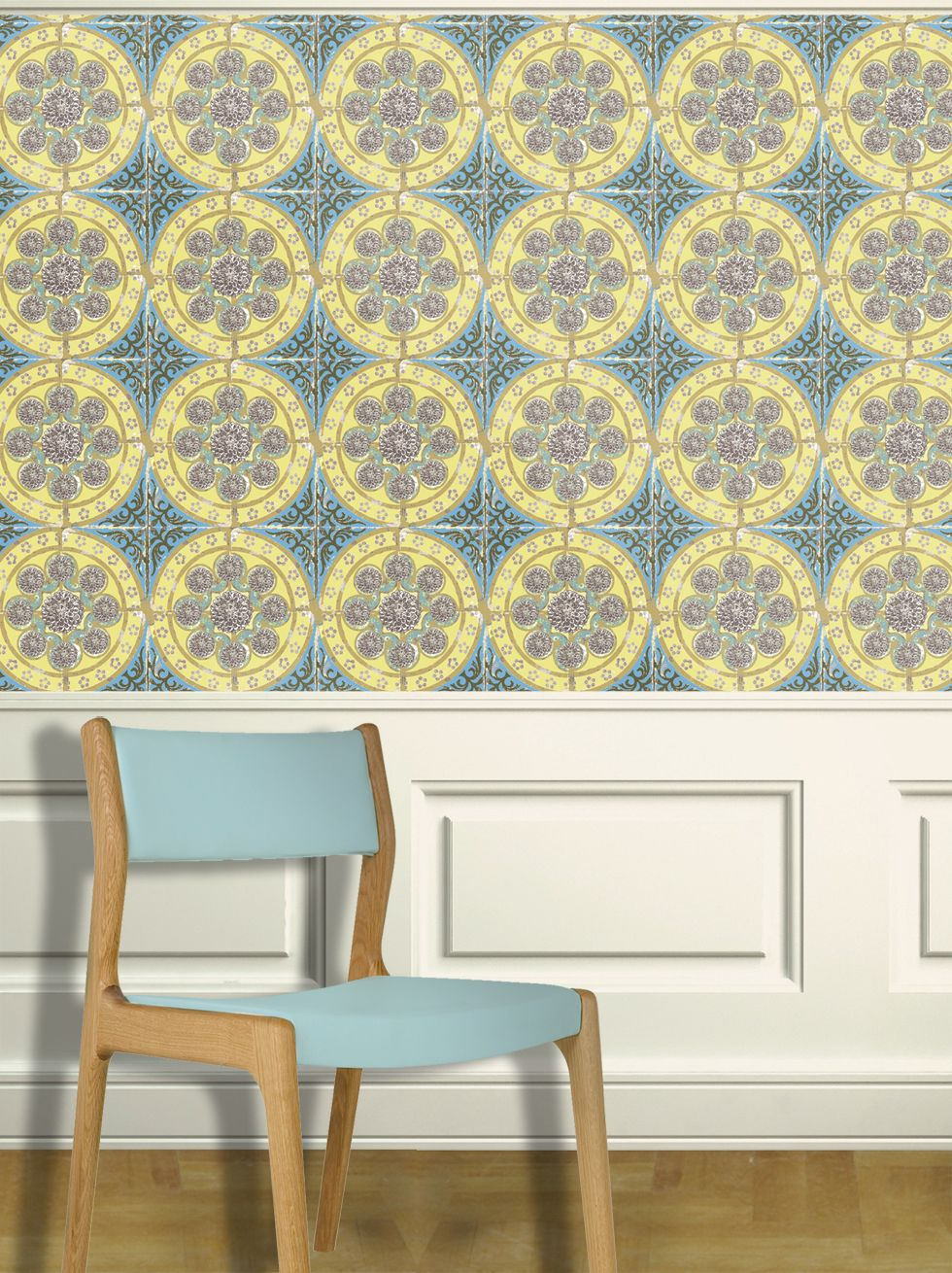 Louise Body Dahlia Yellow / Aqua Wallpaper - Product code: Dahlia