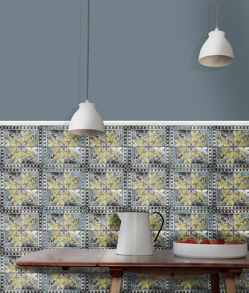 Louise Body Grapevine Black / Grey / Blue Wallpaper - Product code: Grapevine