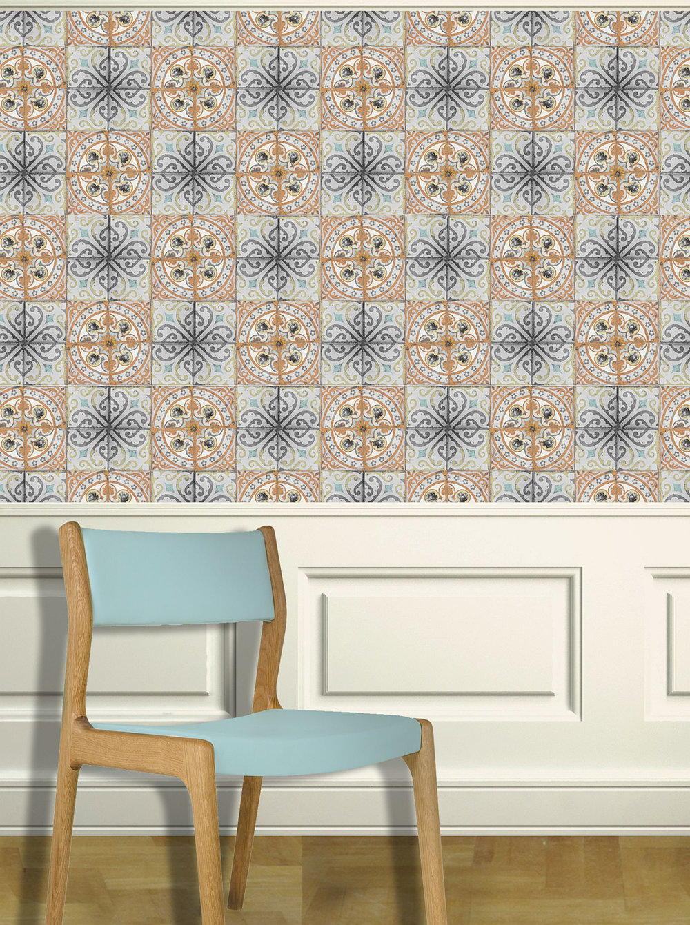 Louise Body Orange Rose Orange / Grey / Blue Wallpaper - Product code: Orange Rose
